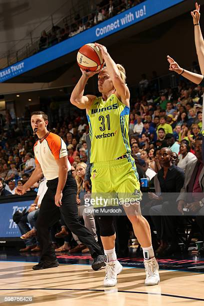 Erin Phillips of the Dallas Wings shoots the ball during the game against the Los Angeles Sparks during the WNBA game on September 2 2016 at the...