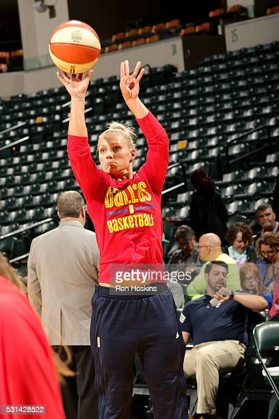 Erin Phillips of the Dallas Wings warms up before the game against the Indiana Fever on May 14 2016 at Bankers Life Fieldhouse in Indianapolis...