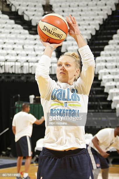 Erin Phillips of the Dallas Wings warms up before the game against the Indiana Fever on September 18 2016 at Bankers Life Fieldhouse in Indianapolis...