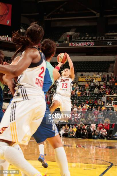 Erin Phillips of the Indiana Fever hits a shot with one and half seconds left to defeat the New York Liberty in Game One of the Eastern Conference...