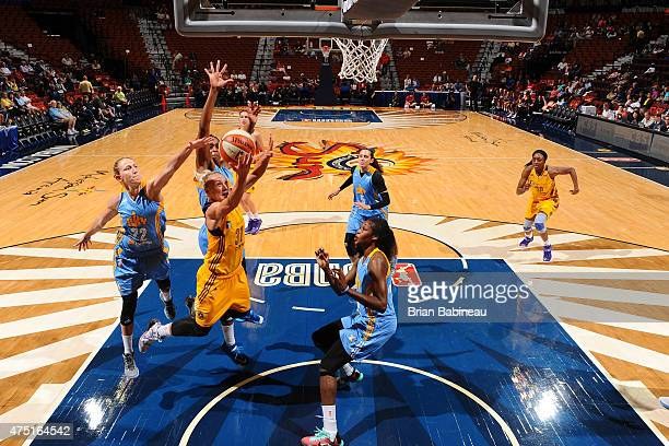 Erin Phillips of the Los Angeles Sparks goes up for a shot against the Chicago Sky on May 27 2015 at Mohegan Sun in Uncasville Connecticut NOTE TO...