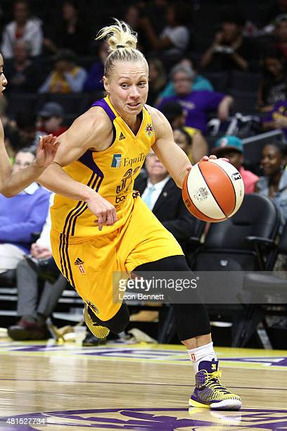 Erin Phillips of the Los Angeles Sparks handles the ball against the Phoenix Mercury in a WNBA game at Staples Center on July 21 2015 in Los Angeles...