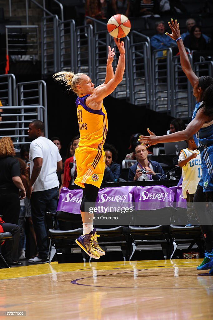 Erin Phillips #31 of the Los Angeles Sparks shoots against the Minnesota Lynx on June 16, 2015 at Staples Center in Los Angeles, California.