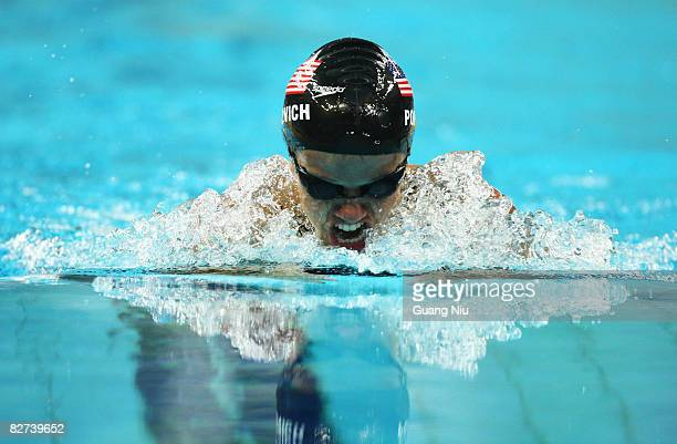 Erin Popovich of USA competes in the Women's 100m Breaststroke SB7 Swimming event at the National Aquatics Centre during day three of the 2008...