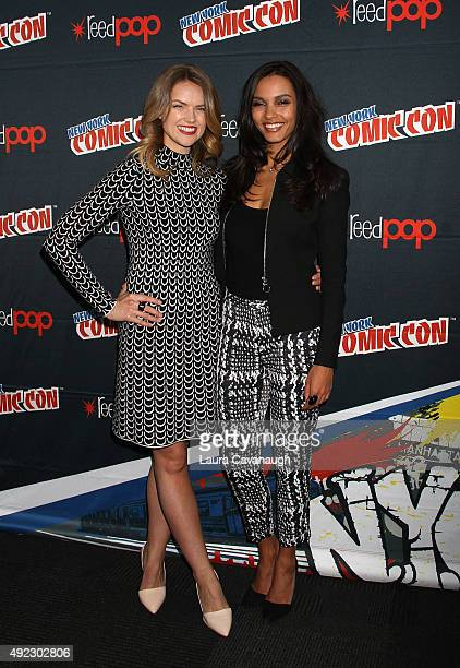 Erin Richards and Jessica Lucas of 'Gotham' attend New York Comic Con 2015 Day 4 at The Jacob K Javits Convention Center on October 11 2015 in New...
