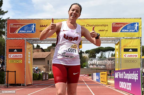 Erin Talcott celebrates after crossing the finish line celebrates in the the 50KM Race Walk at IAAF Race Walking Team Campionship Rome 2016 on May 7...