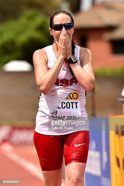 Erin Talcott reacts after crossing the finish line celebrates in the the 50KM Race Walk at IAAF Race Walking Team Campionship Rome 2016 on May 7 2016...