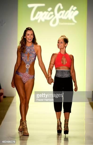 Erin Thomas walks the runway at the Sauvage/Aguaclara Swimwear/Aquarella Swimwear/Mia Marcelle/Toxic Sadie Swimwear fashion show during MercedesBenz...