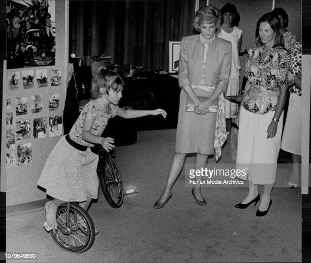 Erin Tuomino riding a unicycle for Princess Diana at the Adelaide festival centre January 30 1988