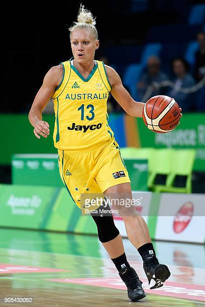 Erin Victoria Phillips of Australia shots the ball against Brazil during International Womens Basketball Tournament Aquece Rio Test Event for the Rio...