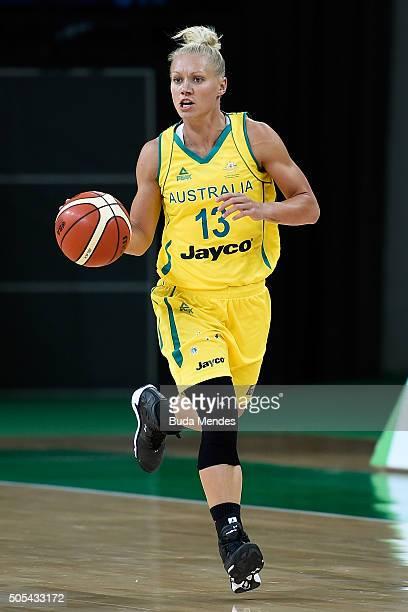Erin Victoria Phillips of Australia shots the ball against Brazil during International Womens Basketball Tournament Aquece Rio Test Event for the Rio...