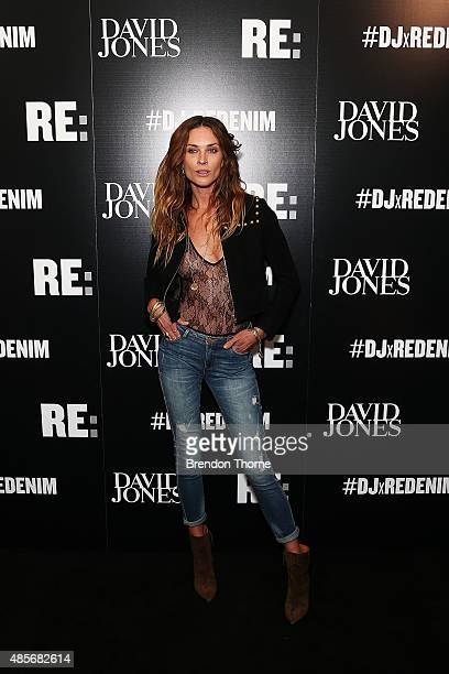 Erin Wasson arrives at the 'RE Denim For David Jones' launch party at St James Station on August 29 2015 in Sydney Australia