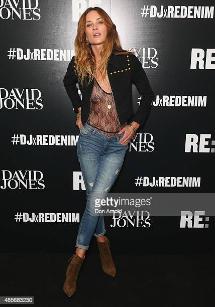 Erin Wasson poses at the RE Denim for David Jones launch party at St James Station on August 29 2015 in Sydney Australia