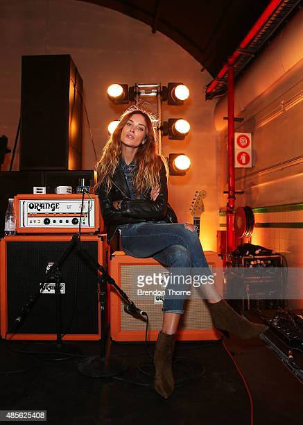 Erin Wasson poses during the RE Denim For David Jones media call at St James Station on August 29 2015 in Sydney Australia