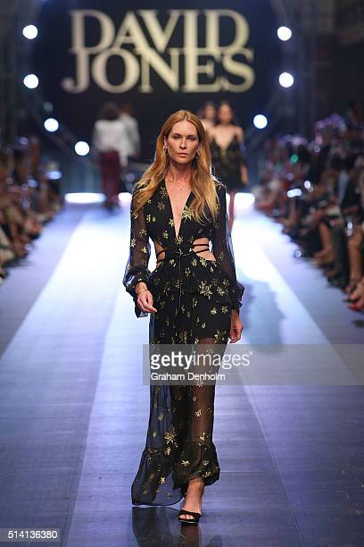 Erin Wasson showcases designs by Bec Bridge on the runway during the David Jones opening event as part of Virgin Australia Melbourne Fashion Festival...