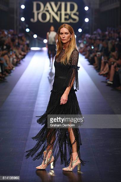 Erin Wasson showcases designs by Romance Was Born on the runway during the David Jones opening event as part of Virgin Australia Melbourne Fashion...