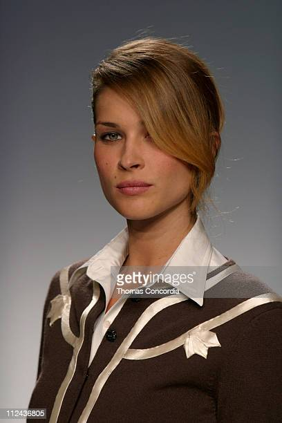 Erin Wasson wearing Behnaz Sarafpour Fall 2004 during Olympus Fashion Week Fall 2004 Behnaz Sarafpour Runway at Studio Noir at Bryant Park in New...