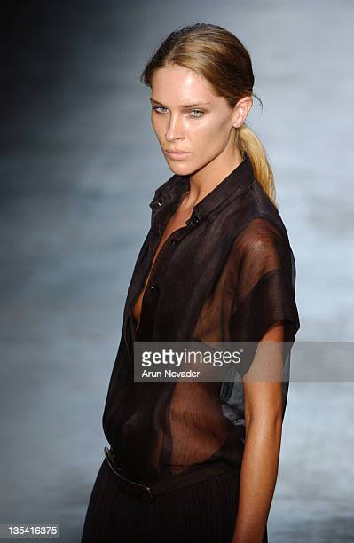 Erin Wasson wearing Calvin Klein Spring 2005 during Olympus Fashion Week Spring 2005 Calvin Klein Runway at 450 West 15th Street in New York City New...