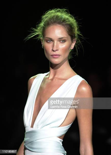 Erin Wasson wearing Luca Luca Spring 2004 during MercedesBenz Fashion Week Spring 2004 Luca Luca Runway at Gertrude Tent Bryant Park in New York City...