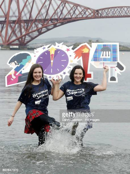Erin Whyte and Bethany Lawrie take a dip in the Firth of Forth at South Queensferry in Edinburgh to promote the Loony Dook