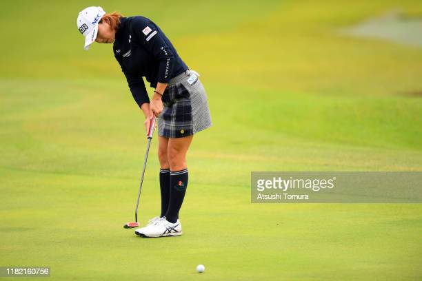 Erina Hara of Japan attempts a putt on the 10th green during the final round of Fujitsu Ladies at Tokyu Seven Hundred Club on October 20 2019 in...