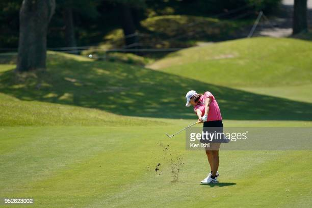Erina Hara of Japan hits a second shot on the 15th green during the final round of the CyberAgent Ladies Golf Tournament at Grand fields Country Club...