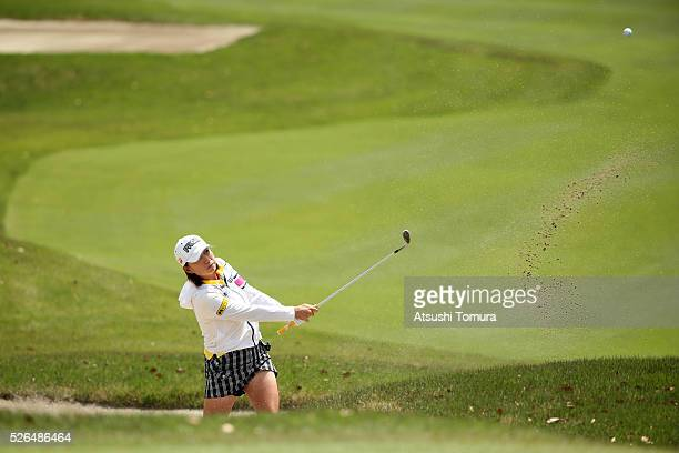 Erina Hara of Japan hits from a bunker on the 3rd hole during the second round of the CyberAgent Ladies Golf Tournament at the Grand Fields Country...