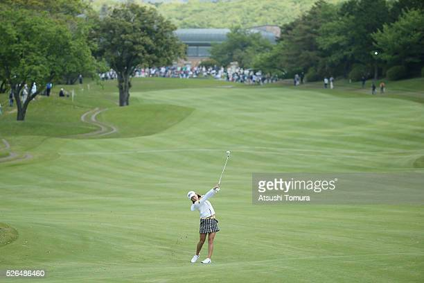 Erina Hara of Japan hits her third shot on the 1st hole during the second round of the CyberAgent Ladies Golf Tournament at the Grand Fields Country...