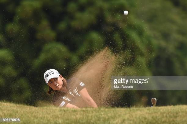 Erina Hara of Japan hits out of the first green bunker during the first round of the Nichirei Ladies at the Sodegaura Country Club Shinsode Course on...