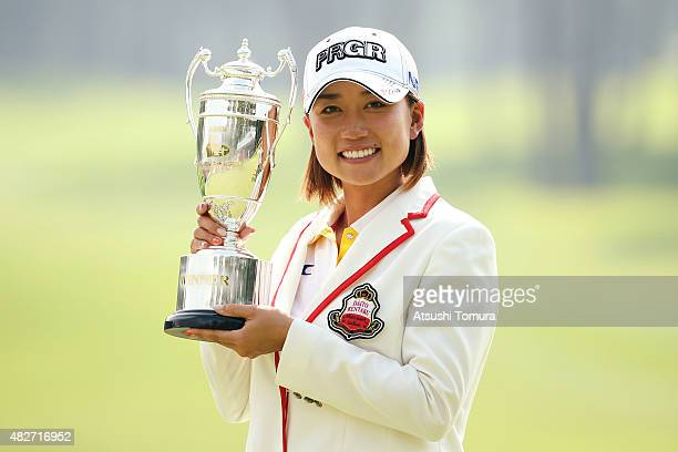 Erina Hara of Japan poses with the trophy after winning the Daito Kentaku Eheyanet Ladies 2015 at the Narusawa Golf Club on August 2 2015 in Narusawa...