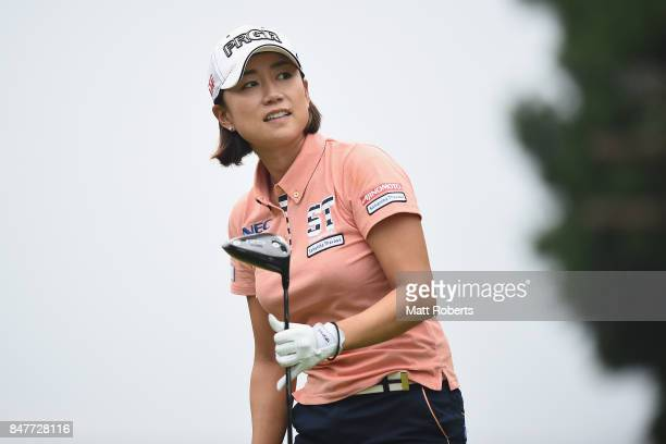 Erina Hara of Japan watches her tee shot on the 3rd hole during the second round of the Munsingwear Ladies Tokai Classic 2017 at the Shin Minami...