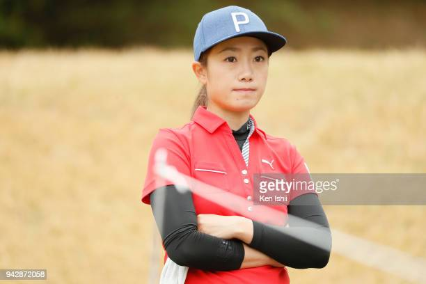Erina Yamato of Japan watches on the 2nd hole during the final round of the Hanasaka Ladies Yanmar Golf Tournament at Biwako Country Club on April 6...