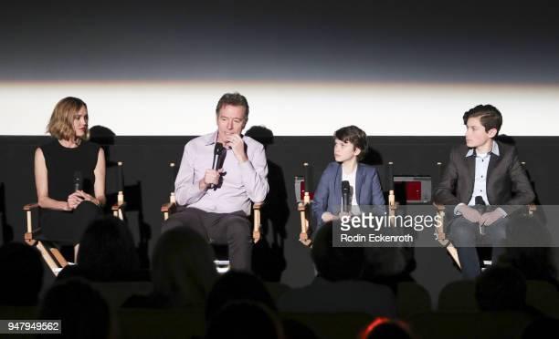 Erinn Hayes Bryan Cranston Gabriel Bateman and Kyan Zielinski speak onstage at The Moms hosted Mamarazzi special screening of an episode of The...