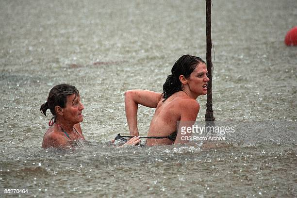 Erinn Lobdell and Sandy Burgin during the reward and immunity challenge 'Beach Brawl' during the second episode of SURVIVOR TOCANTINS THE BRAZILIAN...