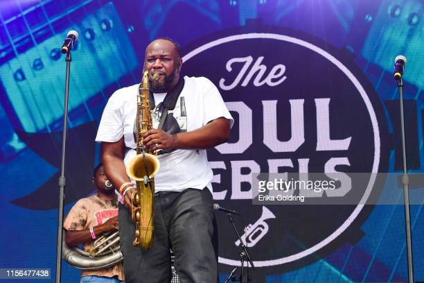 Erion Williams of Soul Rebels Brass Band performs during 2019 Bonnaroo Music Arts Festival on June 16 2019 in Manchester Tennessee