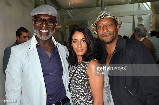 Eriq Ebouaney Aida Touihri and Edouard Montoute attend 'L'Alliance Absolue' Champagne Jacquart Cuvee Prestige launch party at the Atelier Brancusi on...