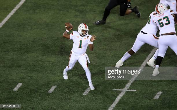 Eriq King of the Miami Hurricanes passes the ball against the Louisville Cardinals at Cardinal Stadium on September 19, 2020 in Louisville, Kentucky.