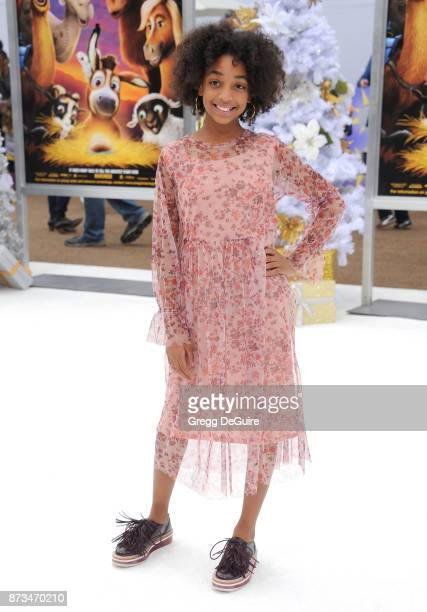 Eris Baker arrives at the premiere of Columbia Pictures' 'The Star' at Regency Village Theatre on November 12 2017 in Westwood California