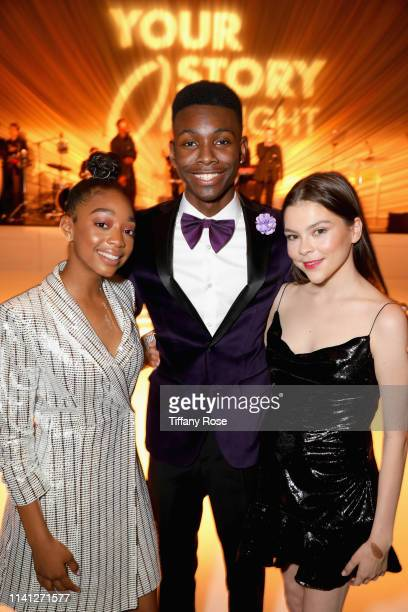 Eris Baker Emcee Niles Fitch and Hannah Zeile attend the Lupus LA 2019 Orange Ball at the Beverly Wilshire Hotel on May 4 2019 in Beverly Hills...