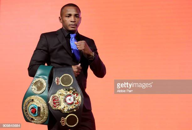 Erislandy Lara addresses the media during the 2018 Showtime Championship Boxing Event at Cipriani 42nd Street on January 24 2018 in New York City