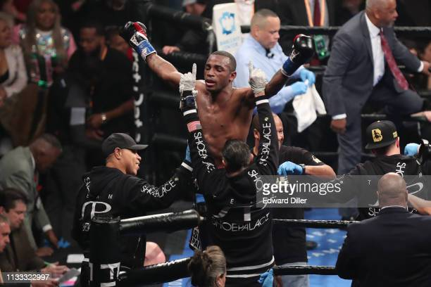 Erislandy Lara celebrates after his bout with Brian Castano at Barclays Center on March 2 2019 in New York City