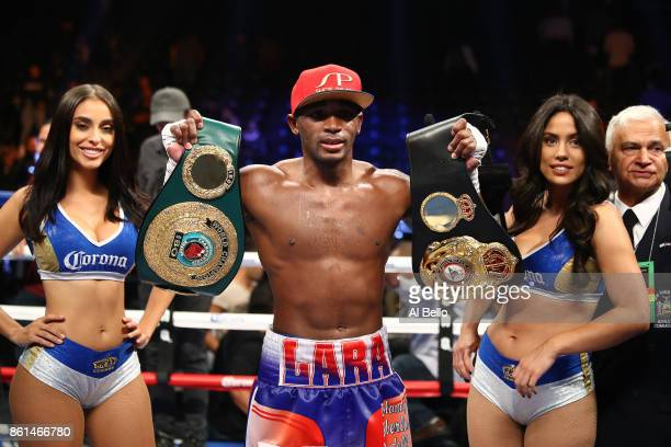 Erislandy Lara celebrates his unanimous decision win against Terrell Gausha during their WBA Junior Middleweight Title bout at Barclays Center of...