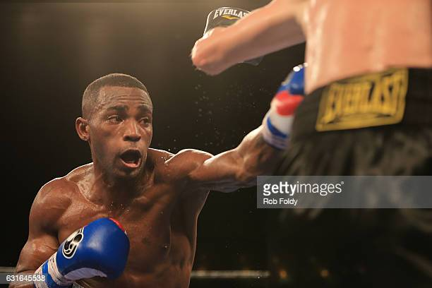Erislandy Lara fights against Yuri Foreman during the fourth round of their WBA World Super Welterweight Championship bout at Hialeah Park on January...