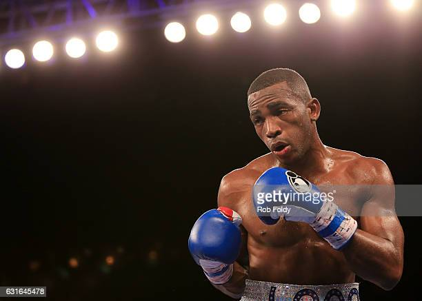 Erislandy Lara fights during the third round of the WBA World Super Welterweight Championship bout against Yuri Foreman at Hialeah Park on January 13...