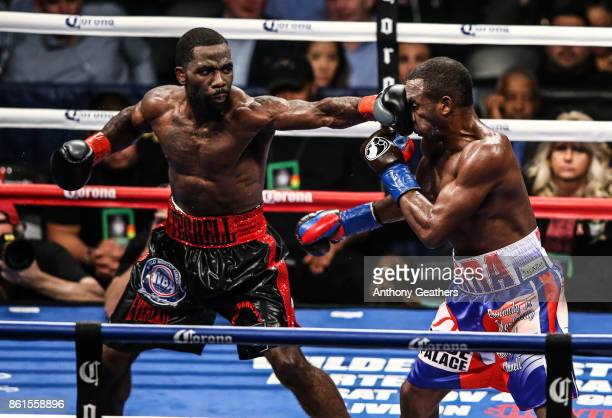 Erislandy Lara fights Terrell Gausha during their WBA Junior Middleweight Title bout at Barclays Center of Brooklyn on October 14, 2017 in New York...
