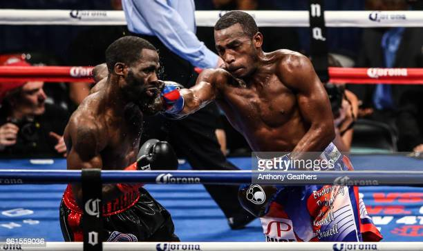 Erislandy Lara fights Terrell Gausha during their WBA Junior Middleweight Title bout at Barclays Center of Brooklyn on October 14 2017 in New York...
