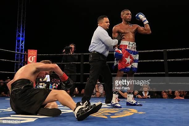 Erislandy Lara gestures after defeating Yuri Foreman during their WBA World Super Welterweight Championship bout at Hialeah Park on January 13 2017...