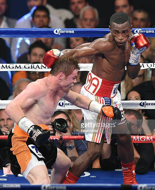 Erislandy Lara hits Canelo Alvarez in the back of the head in the fourth round of their junior middleweight bout at the MGM Grand Garden Arena on...