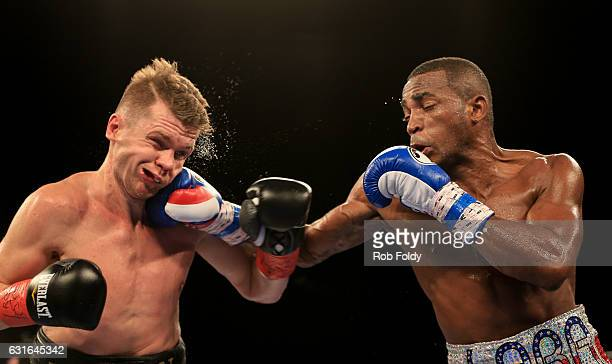 Erislandy Lara lands a punch against Yuri Foreman during the third round of their WBA World Super Welterweight Championship bout at Hialeah Park on...