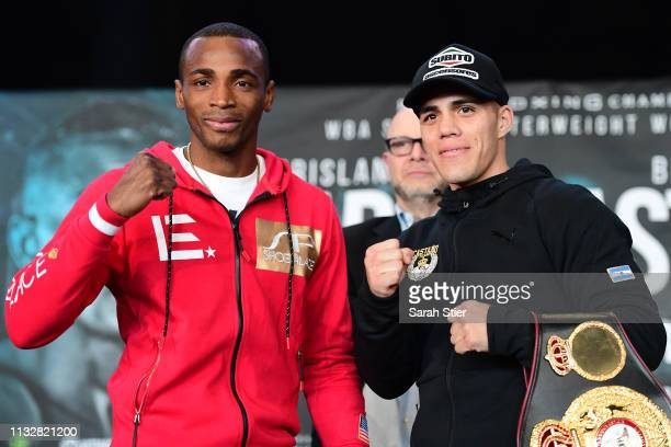 Erislandy Lara of Cuba poses with Brian Castano of Argentina during the press conference prior to their junior middleweight fight at Barclays Center...